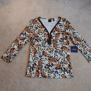 "NWT rafaella egret ""patchwork perfect"" top"